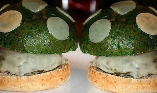 green Mario mushroom burgers