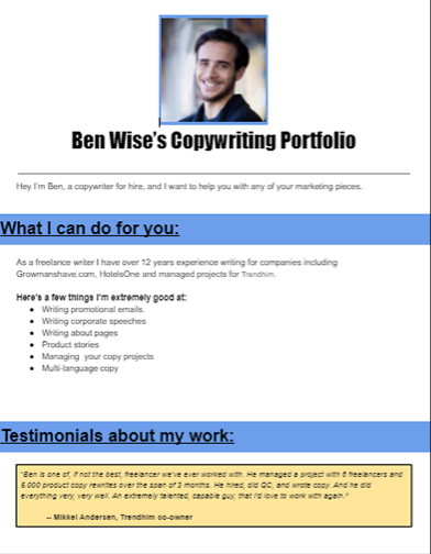 copywriting portfolio