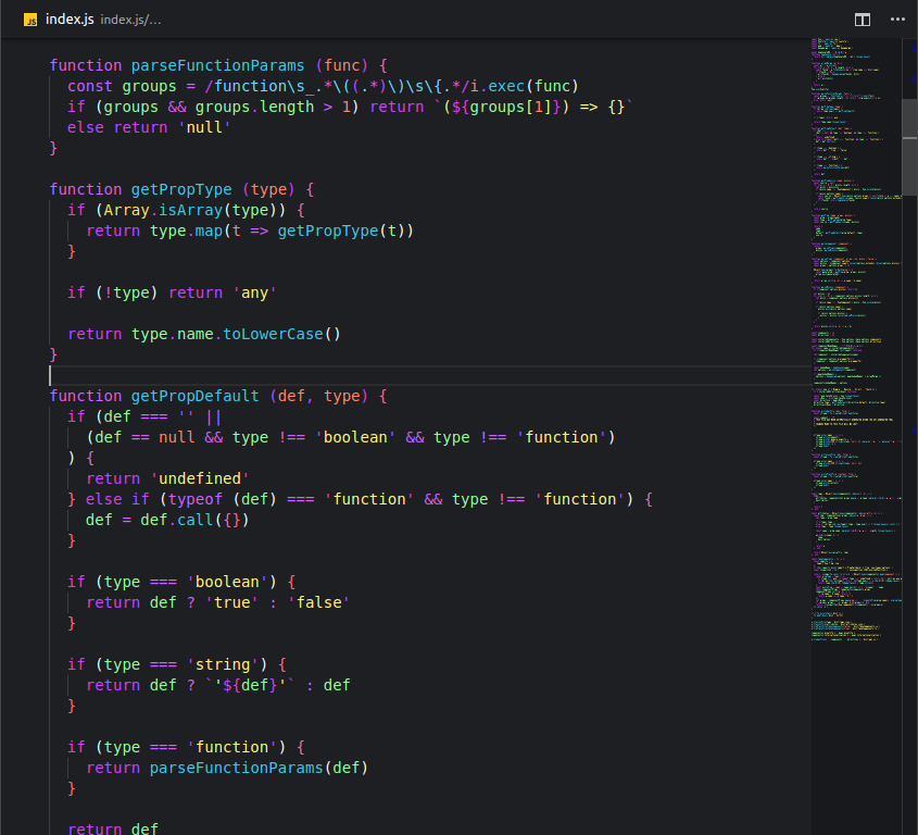 JavaScript file with Bright night theme on