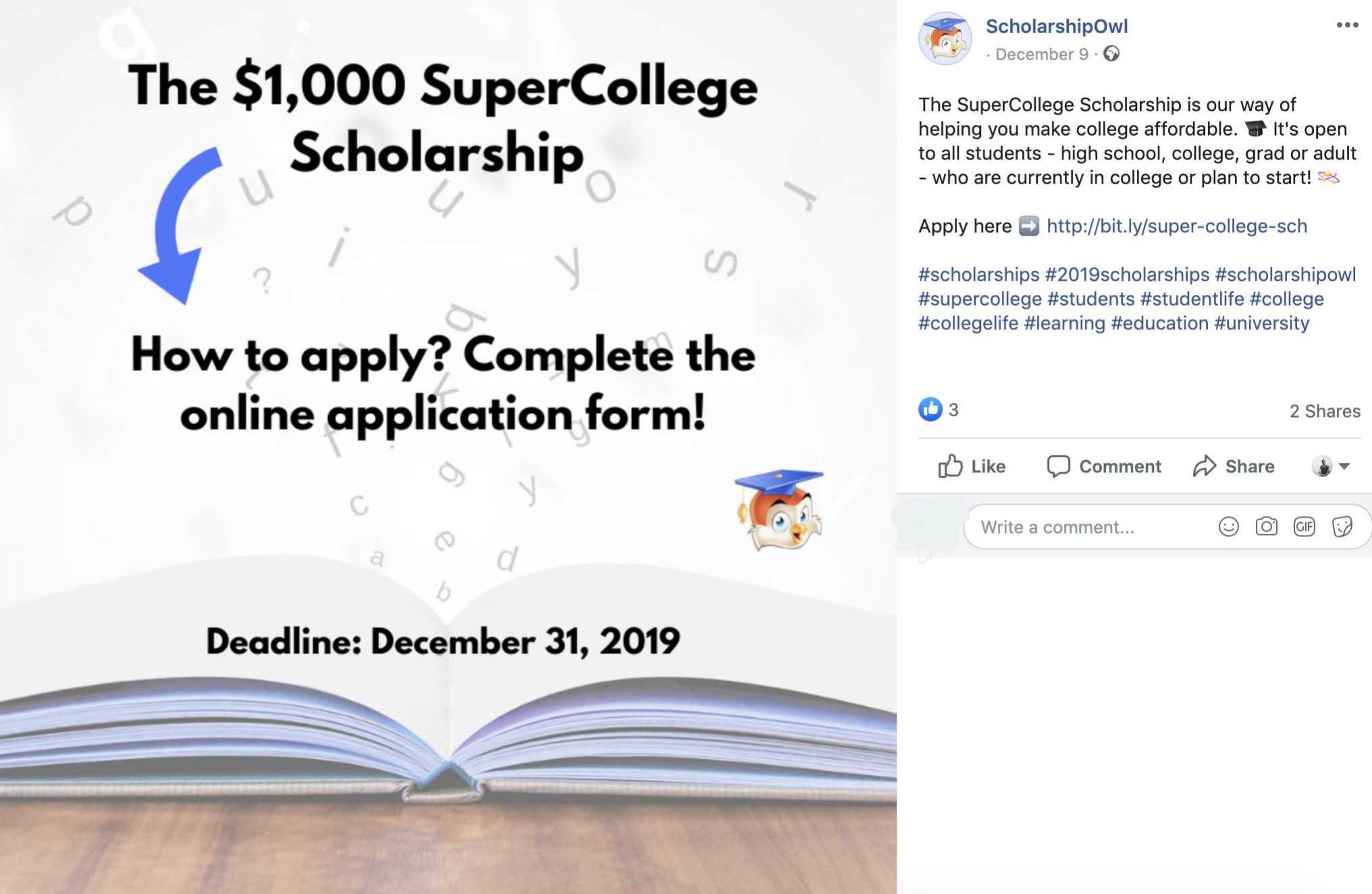 social media ads for scholarships
