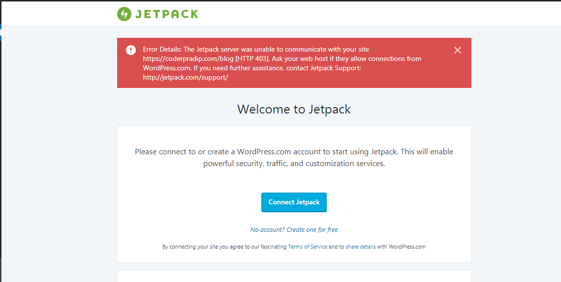 The Jetpack server was unable to communicate with your site  How to