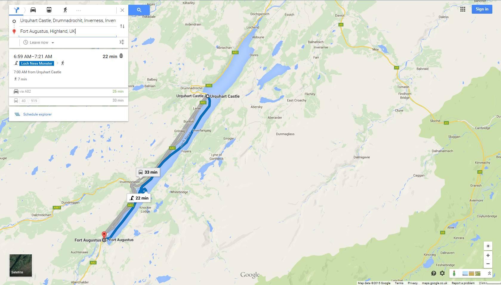 Website] Google Maps Easter Egg: Urquhart Castle -> Fort Augustus By ...