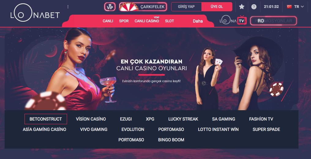 Loonabet casino sayfası