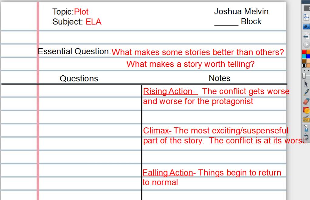 Plot Notes Quiz On 9 20 18 Mr Melvin S 6th Grade ELA Blog
