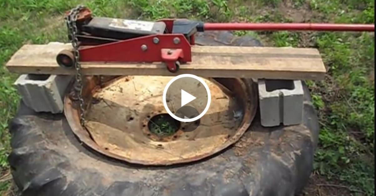 Cu ajutorul unui cauciuc de tractor şi-a schimbat curtea complet. NU trebuie să ratezi acest videoclip sub nici o formă!