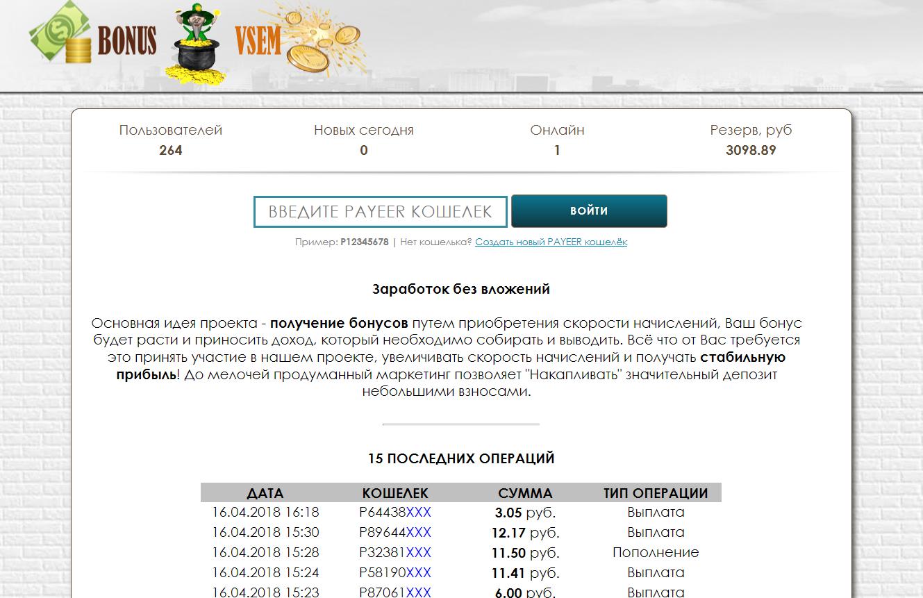 Скрипт бонусника BONUS VSEM
