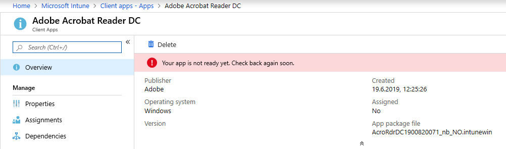 Install Adobe Reader DC using Win32 deployment and Microsoft
