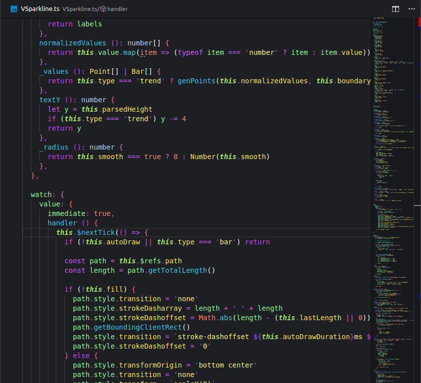 TypeScript file with Bright night theme on