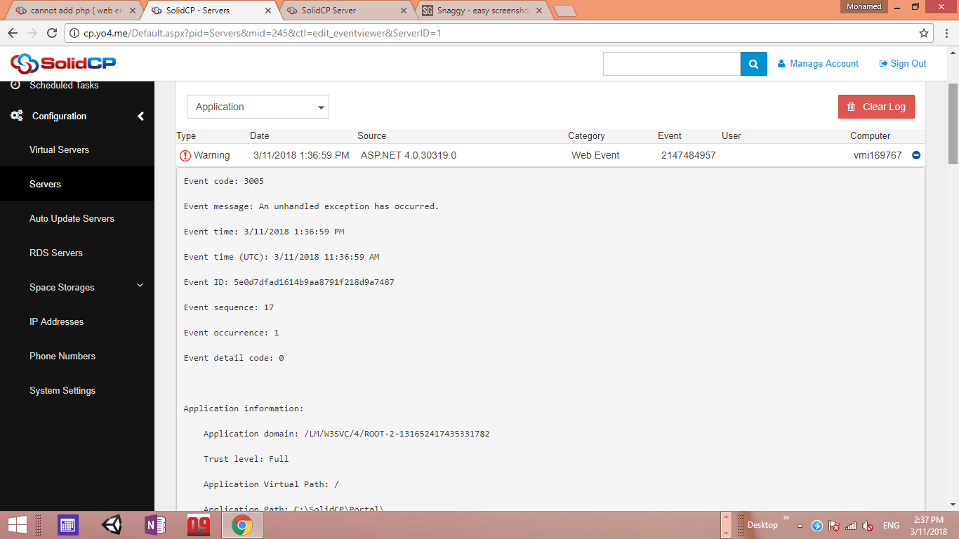cannot add php ( web engine ) - SolidCP