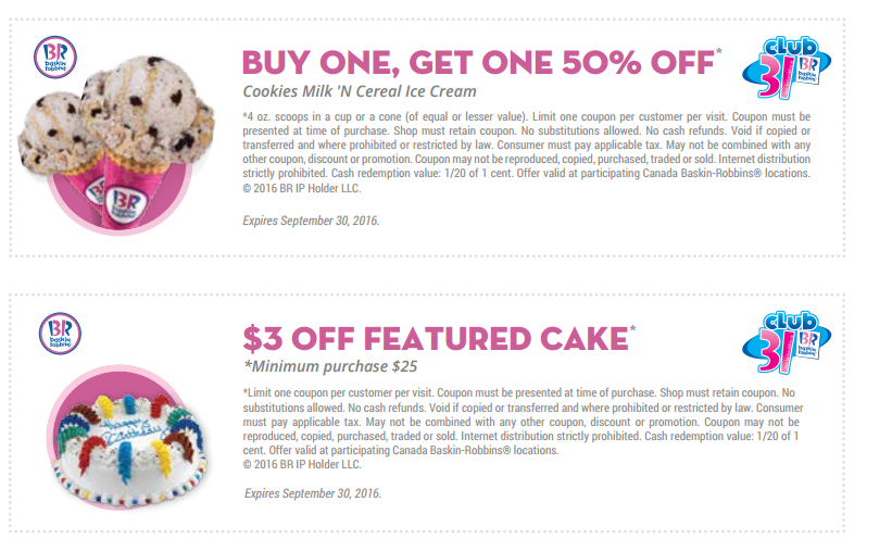 Baskin robbins ice cream cake coupons
