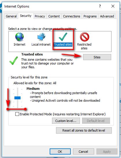 Opciones de Internet - Seguridad