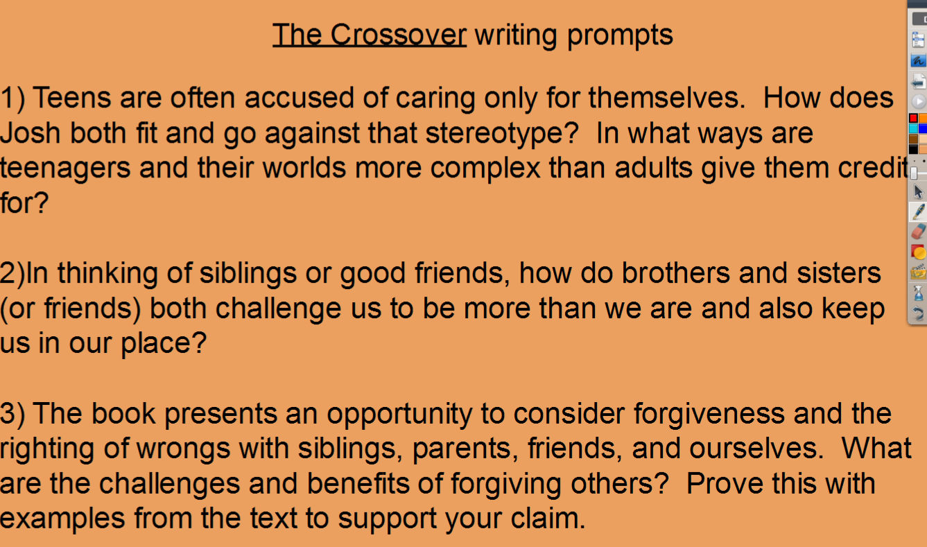 the crossover writing prompts and evidence mr melvin s 6th grade