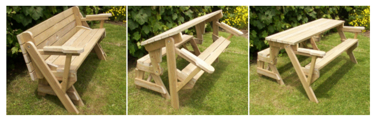 Folding Bench And Picnic Table Combo