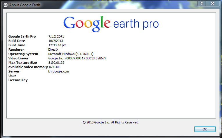 google earth username and license key