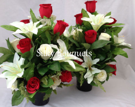 Grave Pot Silk Flower Arrangement Pair Artificial Rose Memorial Grave Tribute Ebay