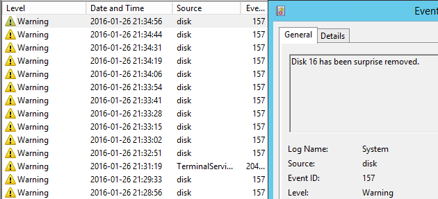 Event 157: Disk X has been surprise removed  - Veeam