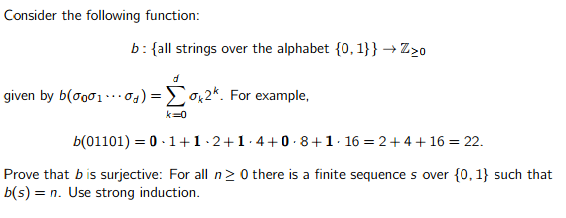 analysis - Proof via strong induction of a string output ...
