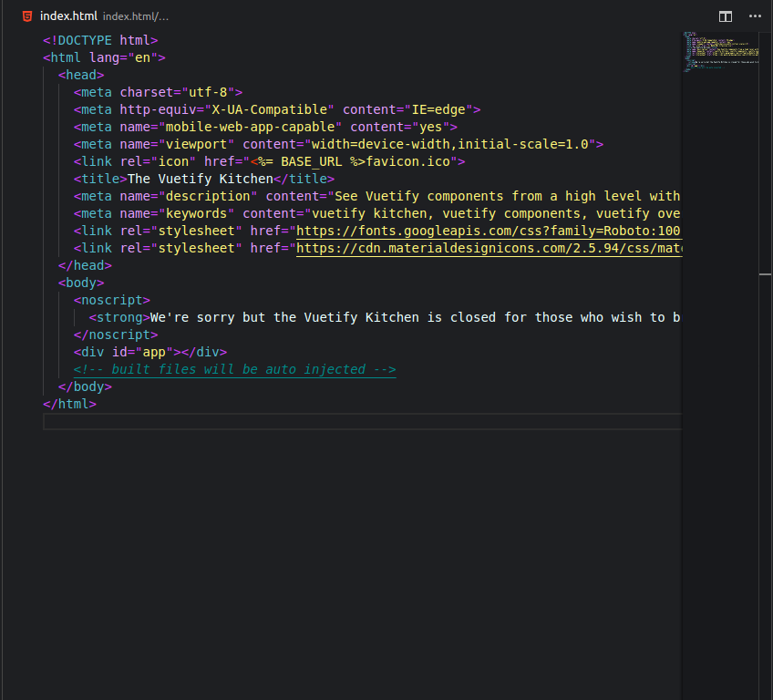 HTML file with Bright night theme on