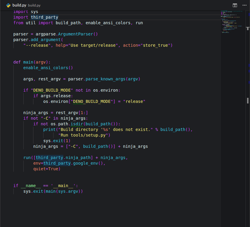 Python file with Bright night theme on