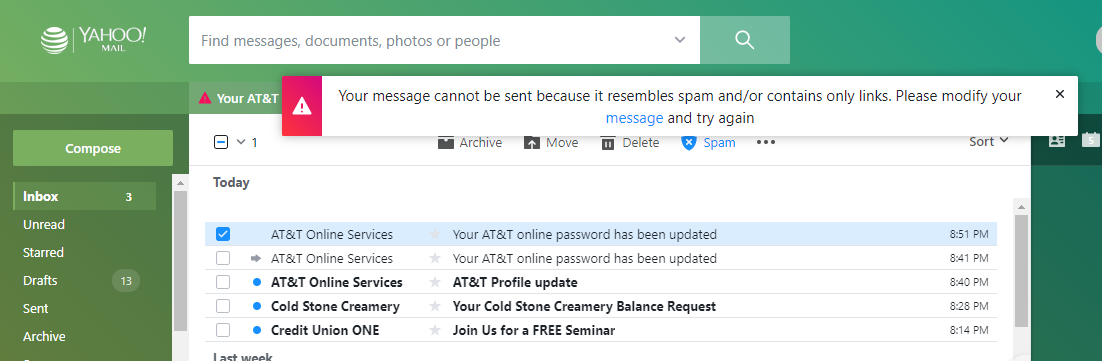 Cannot Send Emails on Yahoo - Web Browsing/Email and Other